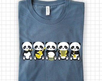 Band o' Pandas Steel Blue T-shirt
