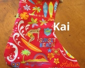 SALE RED Surfer and Burlap HO Ho Ho Hawaiian Christmas Stocking just in time for Mele Kalikimaka