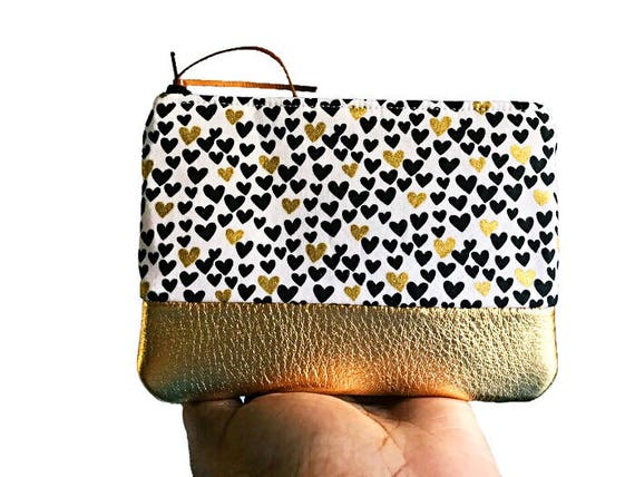 Gold Metallic Hearts Coin Purse, Leather Pouch, Coin Wallet, Small Zippered Pouch, Change Purse, Gift for Her