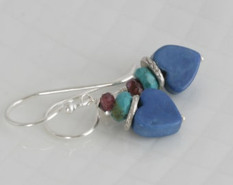 WARM HEART Turquoise Faceted GARNET Blue Howlite Sterling Hill Tribe Silver Earrings