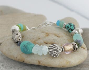 Turquoise AQUAMARINE Gemstones HILL TRIBE Silver Sterling Silver Bracelet // handcrafted jewelry // luluglitterbug