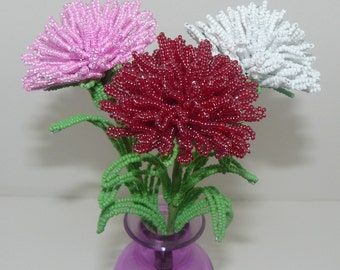 French Beaded Flowers Three Carnations in Red, White, & Pink