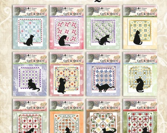Set Of 12 Cats And Quilts Counted Cross Stitch Patterns