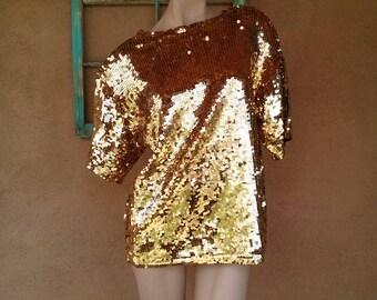 Vintage 1980s Top 80s Sequin T Shirt Unisex Sz M L