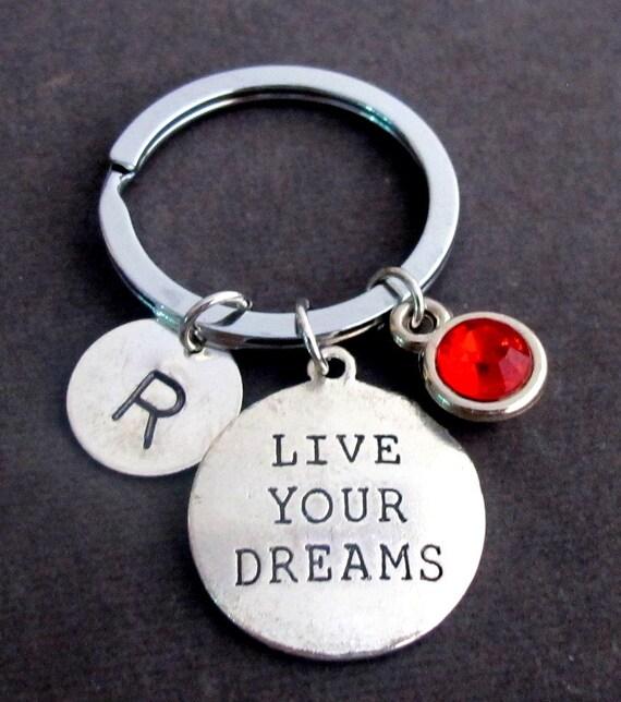 Live Your Dream Key Chain,Henry David Thoreau Quote,Dream Keychain,Live your Dream Quote,Hand Stamped Inspirational Gift,Free ShippingUSA