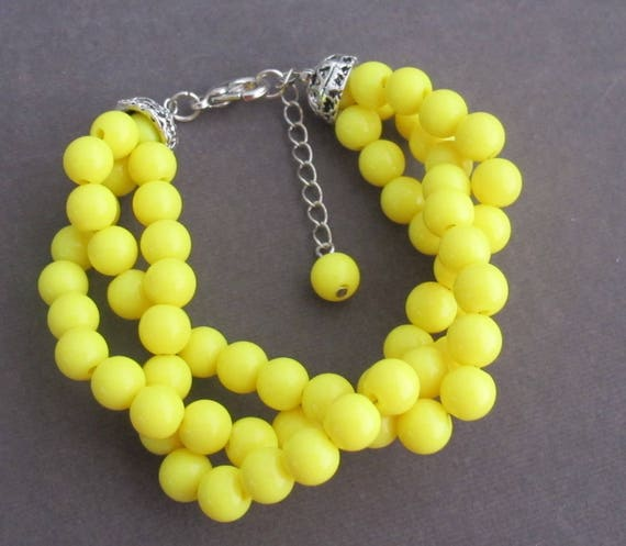 Yellow Beads Bracelet,Bright Yellow Twisted Bracelet,Bridal Party Gift Idea,Wedding Party Gift,Bridesmaid Wedding Jewelry,Free Shipping USA