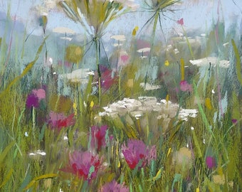 Summer Wildflowers QA Lace and Clover Original Pastel Painting Karen Margulis