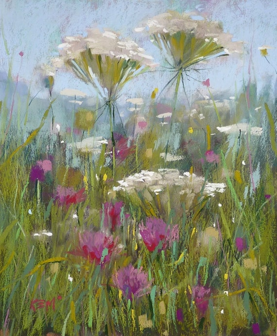 Image result for summer wildflowers painting