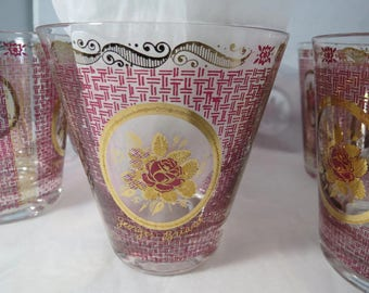 Vintage Mid Century Glasses - Georges Briard signed, Gold Floral Design, Double Old Fashioned 1950s Barware