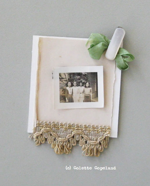 Mini assemblage, antique photo, trim, clip