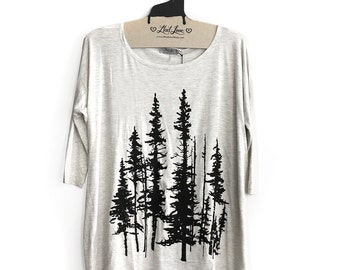 S or L- Oatmeal Long Flowy Tunic with Evergreen Trees Screen Print