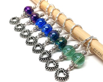 Gorgeous glass bead and heart charm stitch markers- set of 8 markers, bulky knitting, fit up to 10 mm knitting needles
