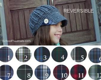 School uniform tartan plaid hat tartan hat upcycled school plaid gift for girls teen girl gifts teen girl hats reversible hats