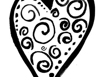 Swirly heart SMALL Red Rubber Stamp-Original design 01402, heart rubber stamp, valentines rubber stamp, love rubber stamp