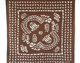 Brown Floral Bandana, Hand Screen Printed and Soft