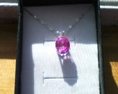 Pink Sapphire Pendant,Pink Sapphire Necklace,10x8mm Pink Sapphire