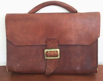 Vintage Handmade Leather Briefcase with Brass Buckle