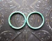 Verdigris Copper Links  - 2 - 18mm Patina Copper Artisan Circles