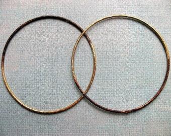 2 inch Hammered Soldered Brass Hoop Findings in Half Gold Half Brown Patina - 1 pair - 16 gauge
