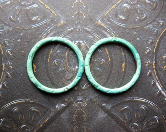 Verdigris Copper Links  - 2 - 18mm Patina Copper Artisan Circles