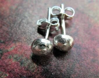 Bright Sterling Silver Pebble Post Earrings