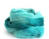 Alpaca laceweight yarn, hand dyed fine boucle lace wool, Perran Yarns Teal Temptation, blue loopy yarn skein, knitting weaving crochet