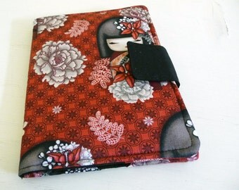 Kindle Paperwhite Cover, Soft Book Style, Japanese Kokeshi Doll Fabric red, grey, and black