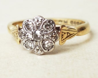 Art Deco Scalloped Flower Ring, Vintage 18k Gold, Platinum and Diamond Engagement Ring, Approx Size 6.75