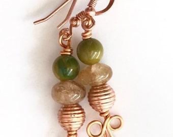 Wirework earrings. Copper, jade, rutilated quartz.