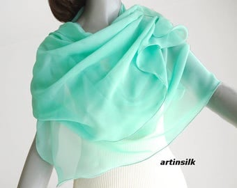 Lucite Sea Glass Wrap, Light Aqua Green, Aquamarine Coverup, Dark Magenta Shawl, Sheer Lucite Scarf, Pure Silk Chiffon, Handmade, Artinsilk.