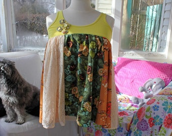 Upcycled Tank Top, Yellow Tank Top, Vintage Fabrics, OOAK, Size L, Size XL, Women's tanks, Eco Clothing, Lace Top, Vintage Floral