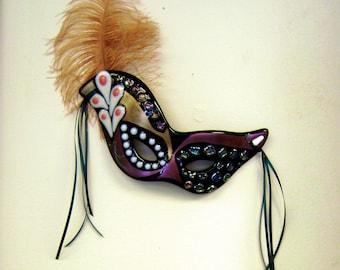 Mardi Gras Mask Wall Decor in Fused Glass