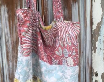 SALE- Boho Tote-Extra Large Hobo- Upcycled Slouchy Style -Eco Friendly