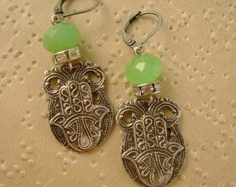 Hands Down - Vintage Hand of Fatima Hamsa Hands Morocco Rhinestones Recycled Repurposed Upcycled Earrings