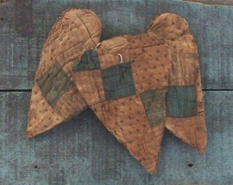 3 Primitive Heart Ornaments, Valentine Decor, Tattered Hearts, Country Christmas, Antique Quilt Hearts, Blue White Black - READY TO SHIP