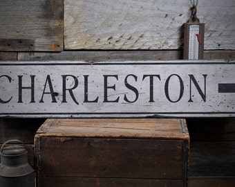 Charleston Sign, Wooden City Sign, Custom City Sign, Directional City Sign, City Direction Sign -Rustic Hand Made Distressed Wood ENS1000855