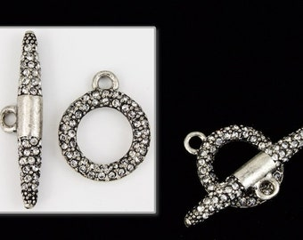 18mm x 15mm Gunmetal Pavé Toggle Clasp #CLC161