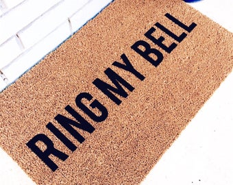RING MY BELL. Natural CoCo Coir Fiber Modern Tagged Outdoor Welcome Mat Custom doormat