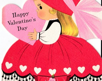 Vintage 1940's Walking Doll Valentine Greetings Card (B17)