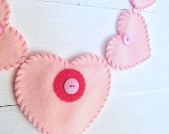 pink felt heart garland - wedding decor / nursery / valentine - hand stitched - embroidered hearts with pink buttons