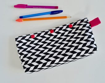 Black Zipper Pouch - Pencil Pouch - Make up Bag - Cosmetic Pouch - Zipper Pouch - Polka Dot Pouch - Gift for Girls - Gift for Teen Girls