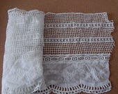 CLEARANCE - White wide trellis floral lace, 9.5 x 36 inches