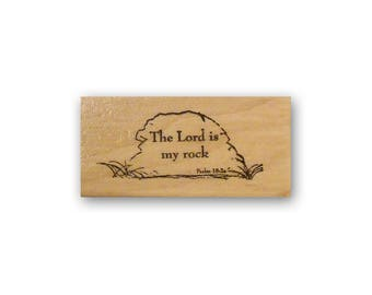 The Lord is my rock - mounted rubber stamp, Christian bible verse, scripture, Psalm 18:2, Crazy Mountain Stamps #3