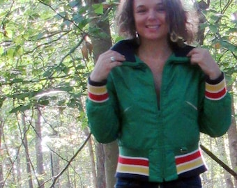 Vintage Alpine Designs Cropped Ski Jacket. Down Feathers. Red. Gold. Green. Navy. Size XS or S