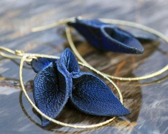 Leather Petals Statement Earrings w/ gold - Navy Blue Pearl lambskin + Silk Shantung - long dangle teardrop hoop - OOAK - Bespoke