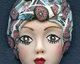 Polymer Clay One of a Kind   Detailed  Art Doll Face with hat Cab  DFH 1