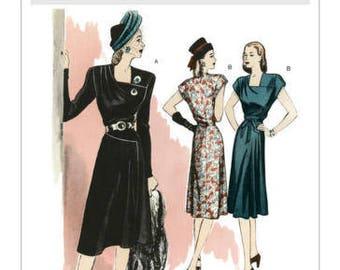 Butterick B5281 Misses' Square-Neck Dresses and Belt Retro '46 Size E5 14-22