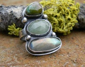 Mysterious Greens - Three stone ring - Turquoise, Aquamarine, Labradorite size 7.25 - Statement Ring