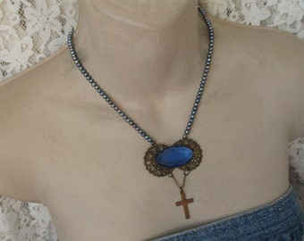 Antique Victorian, repurposed brooch, religious necklace, cobalt blue, pearls, rosary necklace, religious medal, upcycled vintage, cross