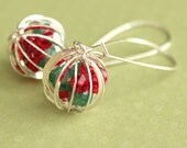 Christmas Ornament Earrings - Silver - Swarovski Crystal - Cage Earrings - Kidney Earwires - Red & Green